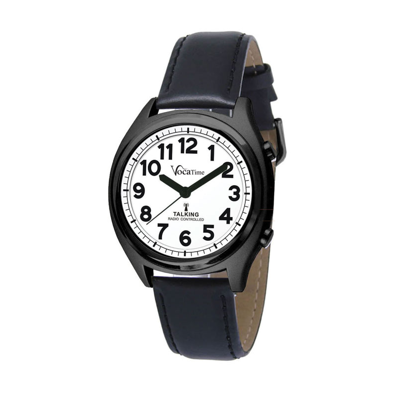 VocaTime Atomic Talking Watch- Black Case with Leather Band