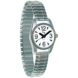 Womens Low Vision Watch- White Face w-Exp Band