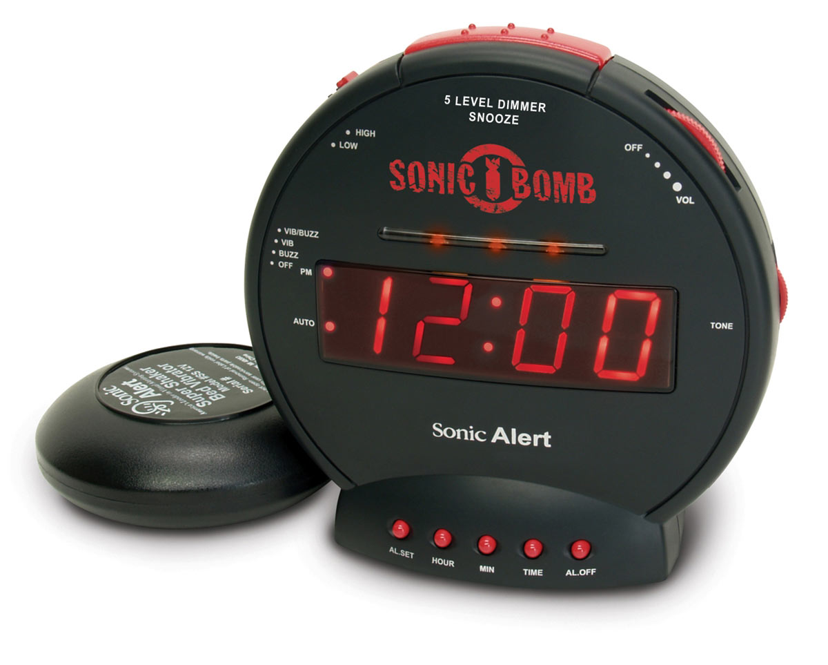 Sonic Bomb Alarm Clock and Bed Shaker - Black - click to view larger image
