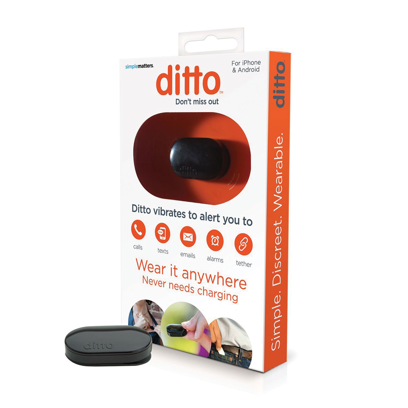 Ditto Bluetooth Vibrating Notification Device for Smartphones - Black