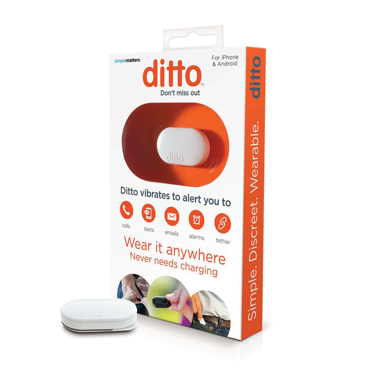 Ditto Bluetooth Vibrating Notification Device for Smartphones - White