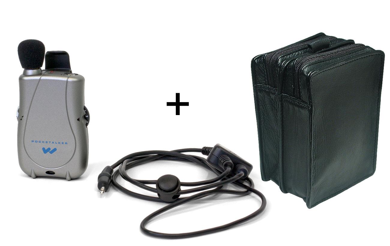 Pocketalker Ultra with Neckloop + Leather Case - MaxiAids Bundle