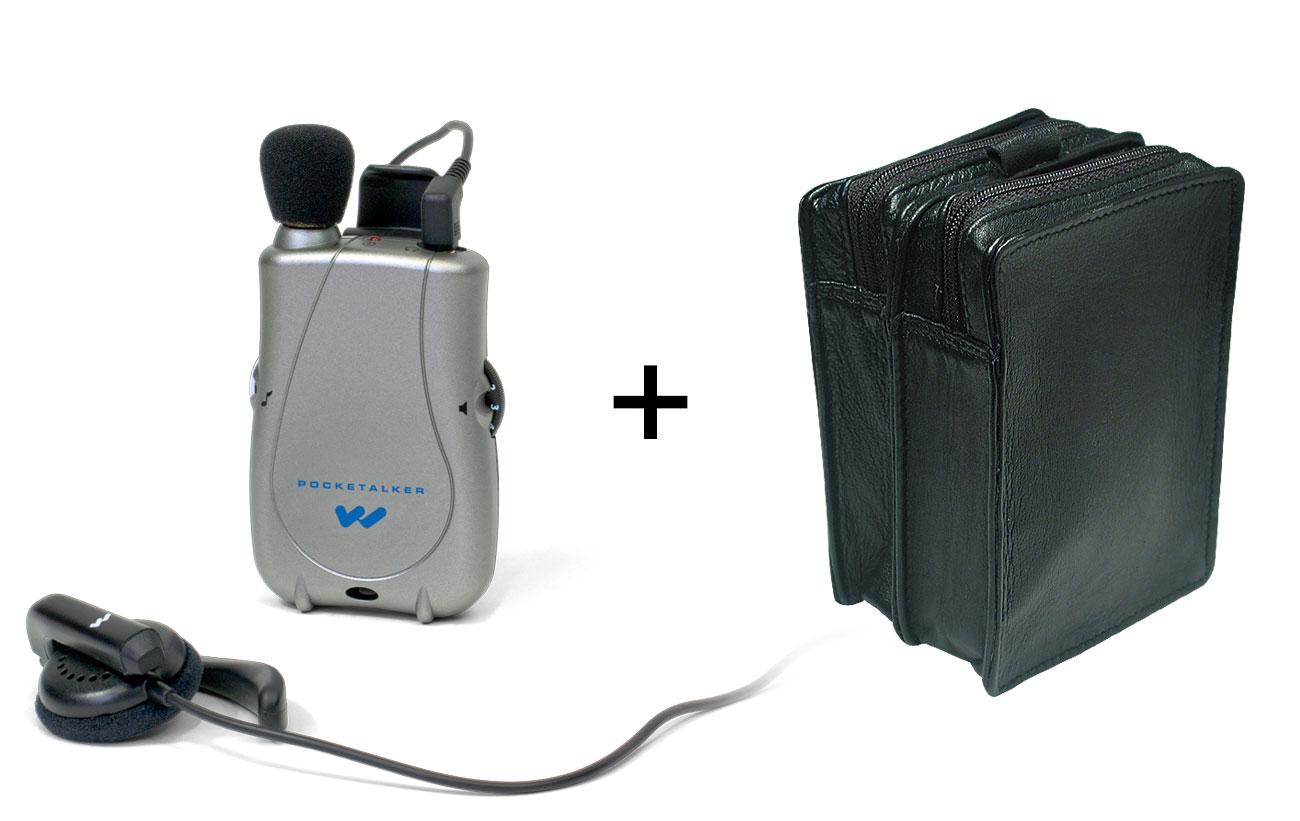 Pocketalker Ultra w-Widerange Earphone + Leather Case -MaxiAids Bundle
