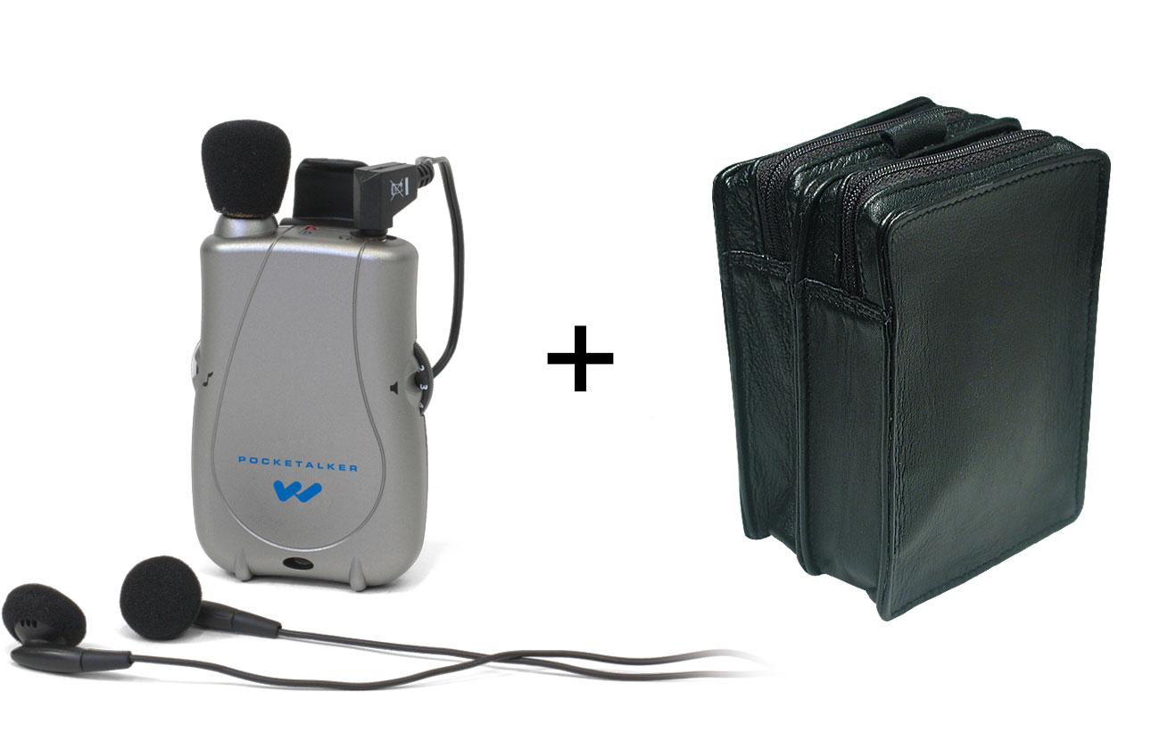 Pocketalker Ultra with Dual Earbuds + Leather Case - MaxiAids Bundle