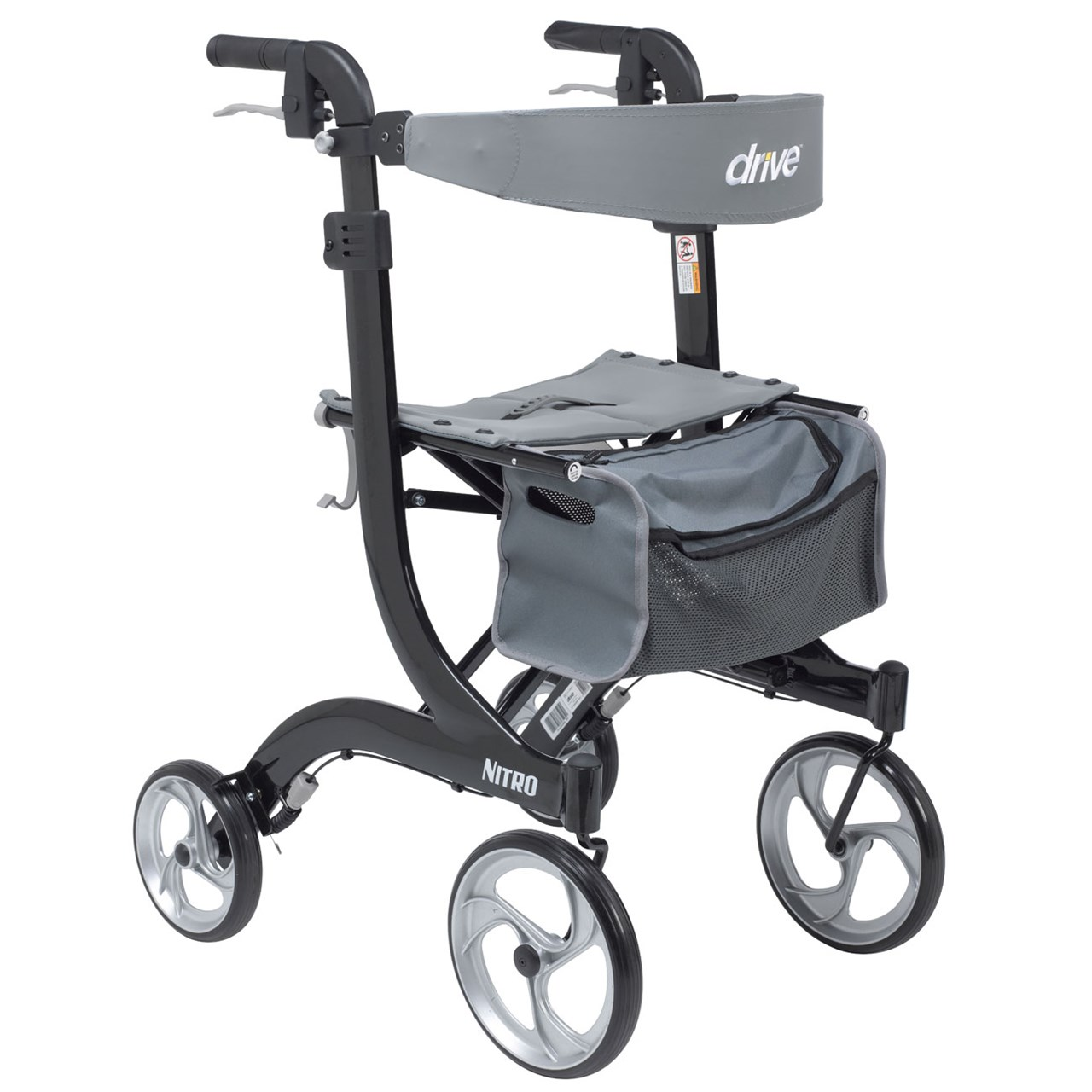 Nitro Aluminum 4 Wheel Rollator - Tall Height - 10-inch Casters