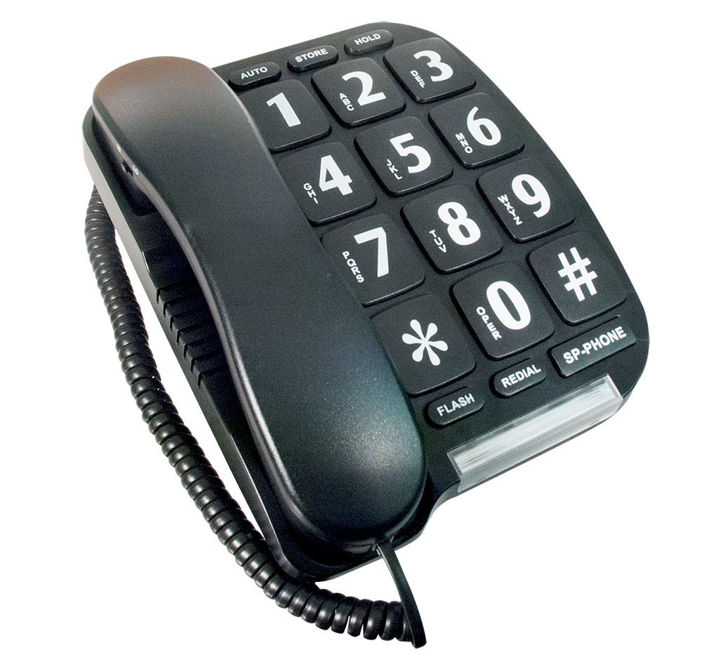 Large Button Telephone - Black Color