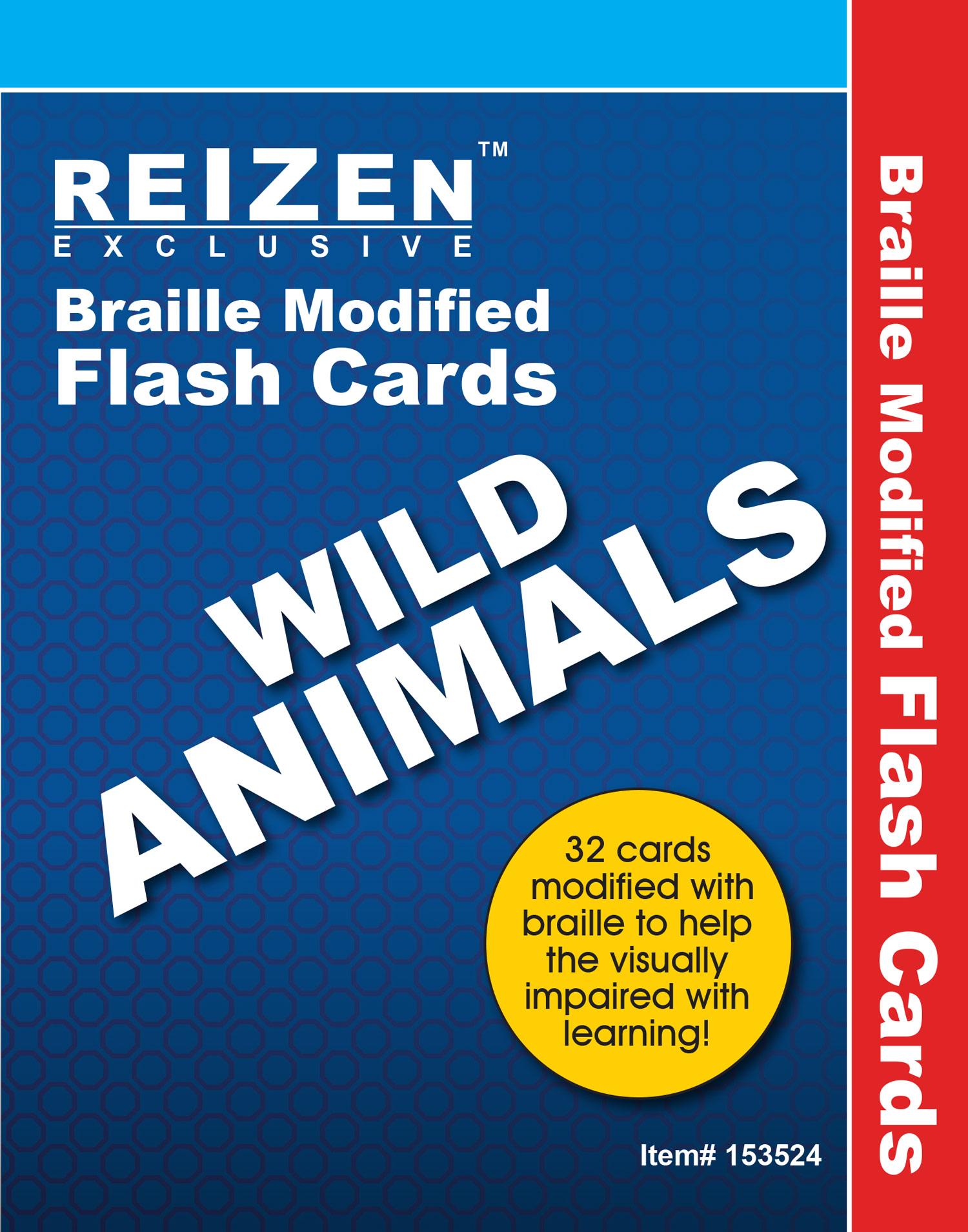 Wild Animals Flash Braille Cards