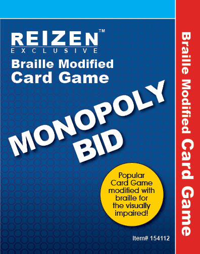 Braille Monopoly Bid Playing Cards