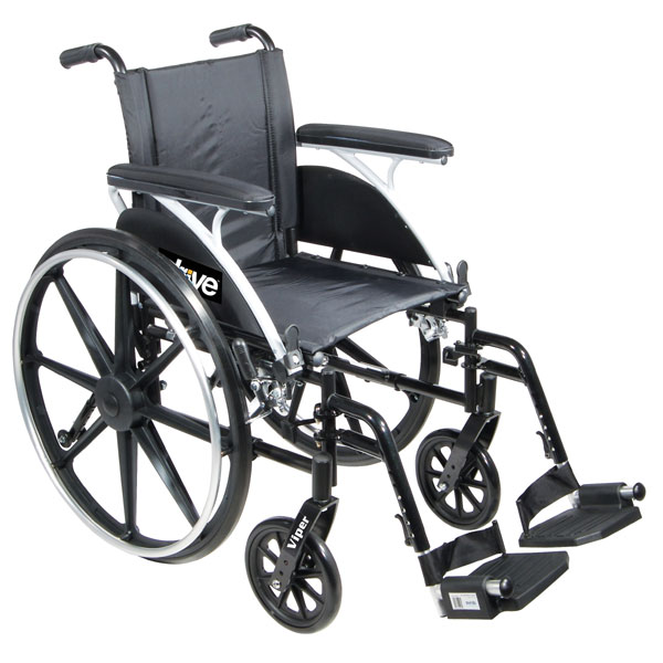 Viper Wheelchair 12-in Seat Flip Back Desk Arm Swing-Away Footrests