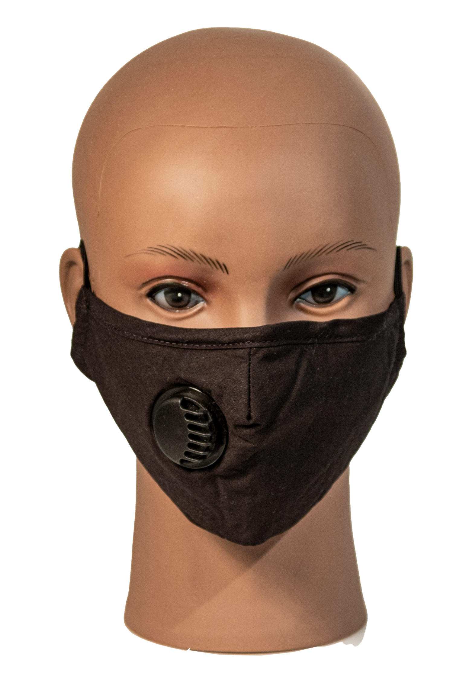 Black cotton face mask with breathable vent and 2 filters