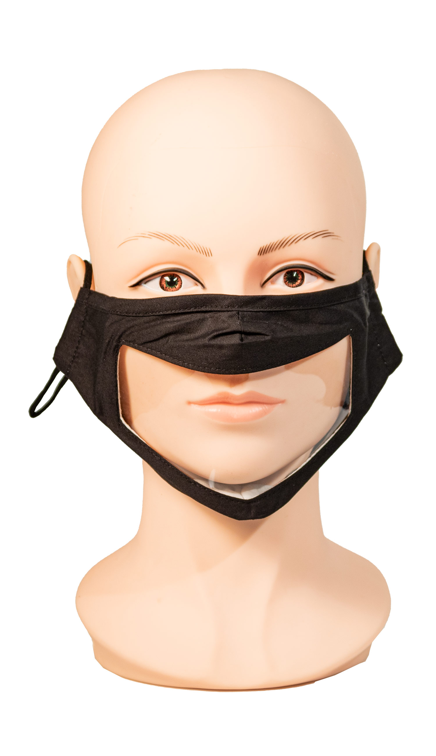 Black Face Mask with Wide Clear Window