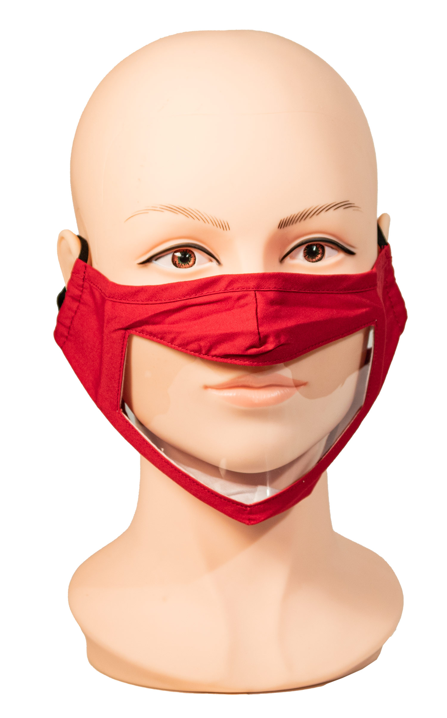 Red Face Mask with Wide Clear Window