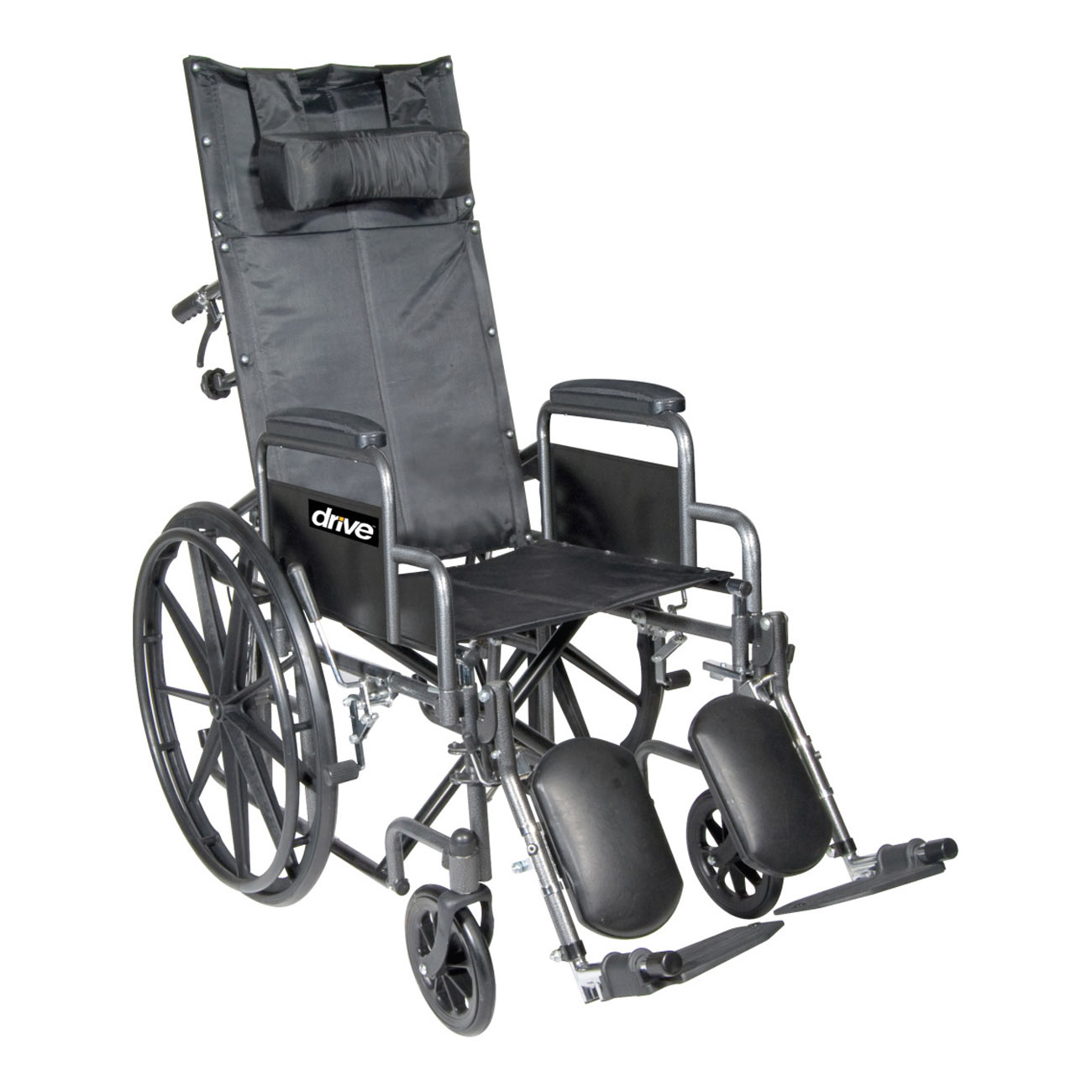 Chrome Sport Full-Reclining Wheelchair - 18 in. w-Desk Arms