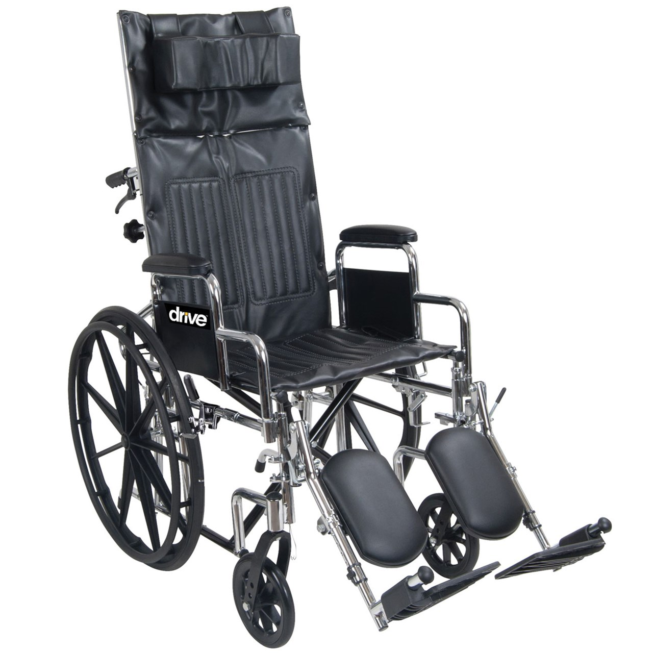 Chrome Sport Full-Reclining Wheelchair - 16 in. w-Full Arms