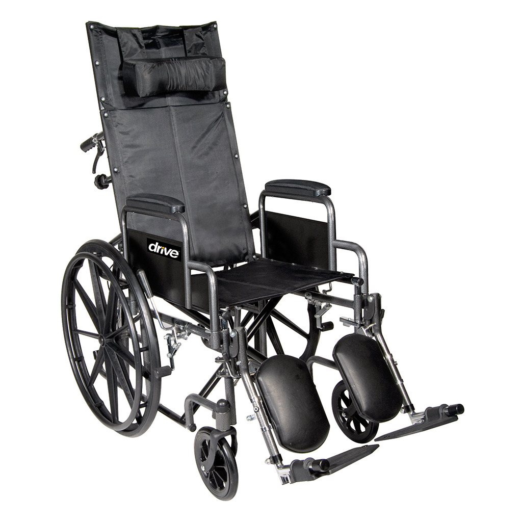 Chrome Sport Full-Reclining Wheelchair - 18 in. w-Full Arms