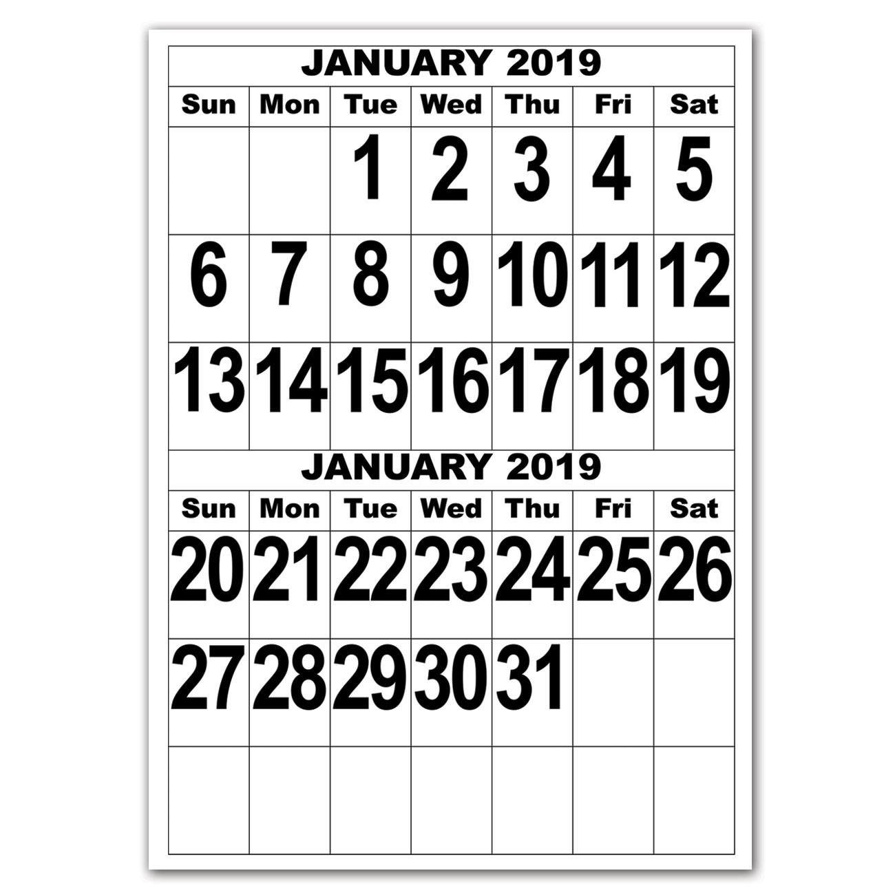 Giant Print Calendar - 2019