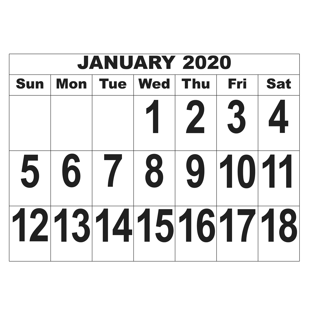 Giant Print Date Calendar - 2020