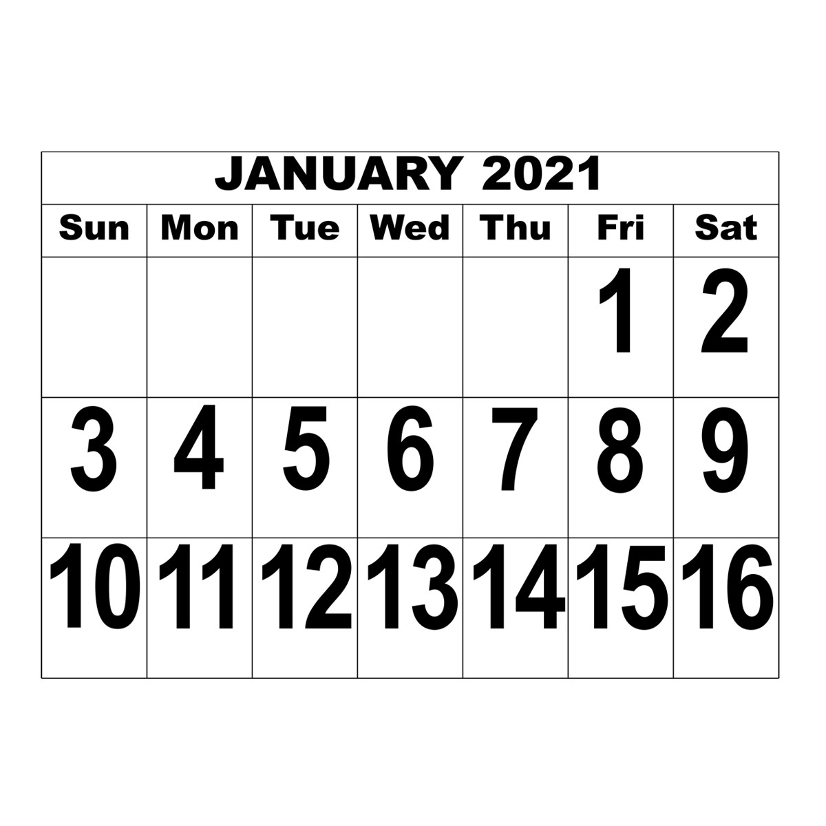 Giant Print Date Calendar - 2021