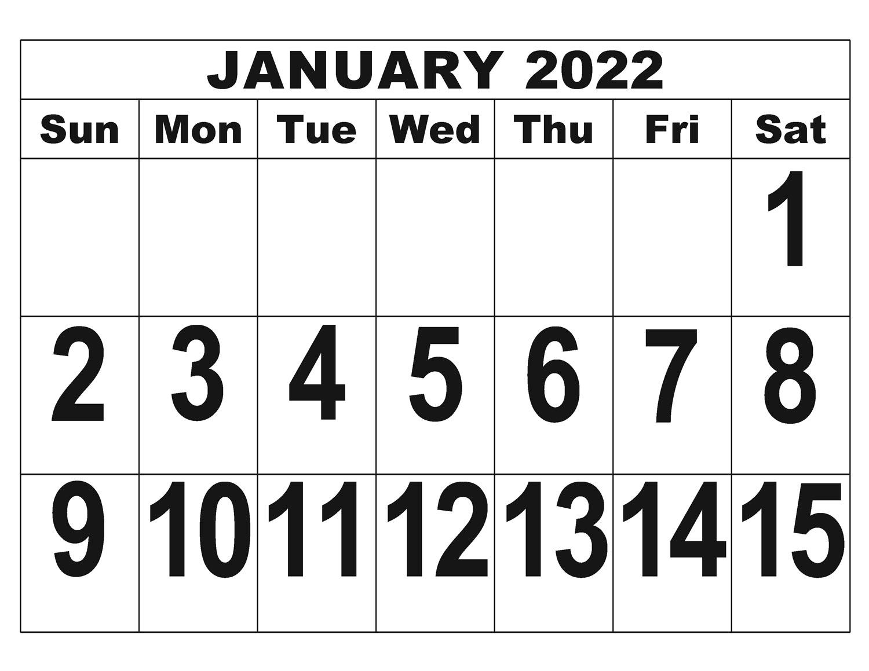 2022 Giant Print Calendar