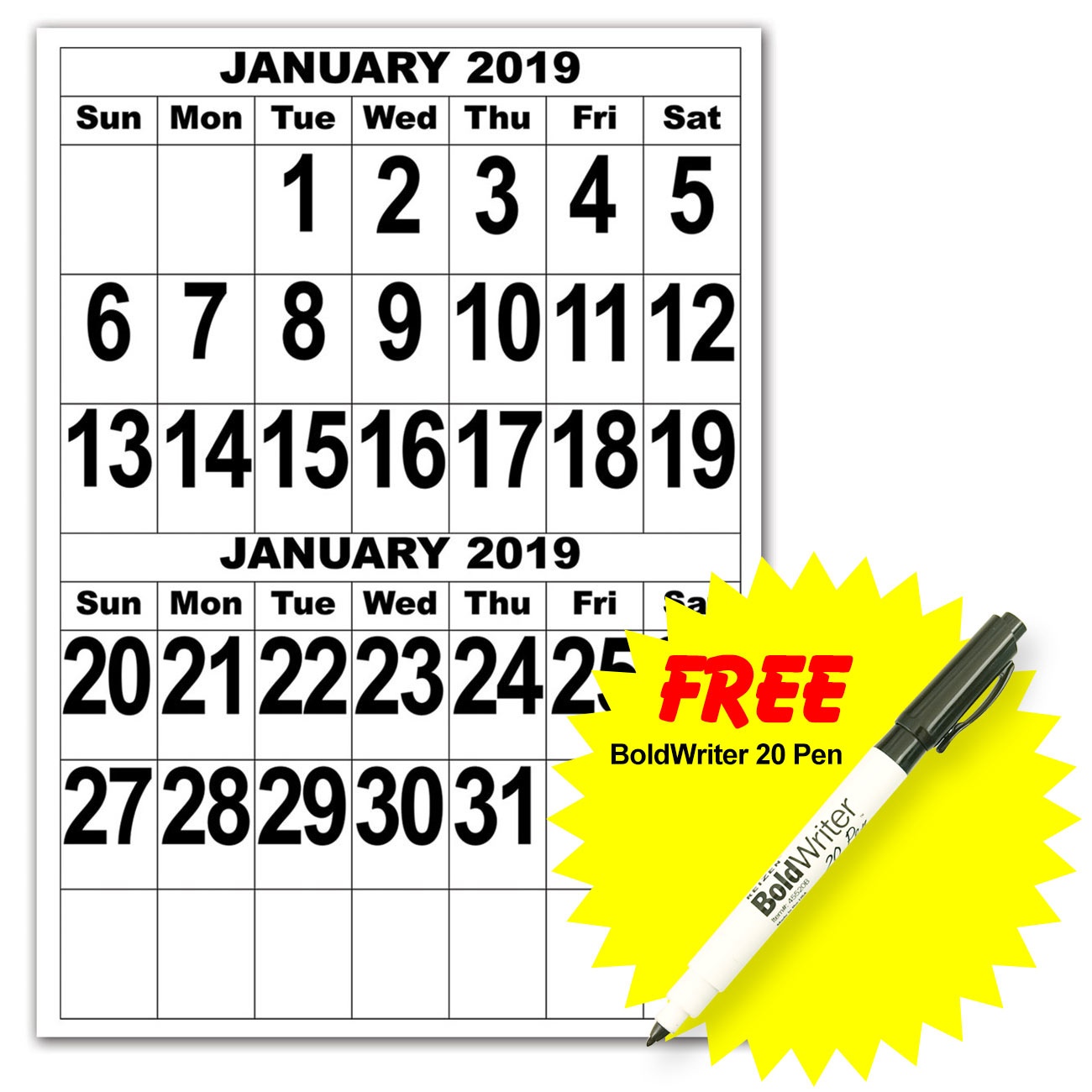 Giant Print Calendar - 2019 with BoldWriter 20 Pen