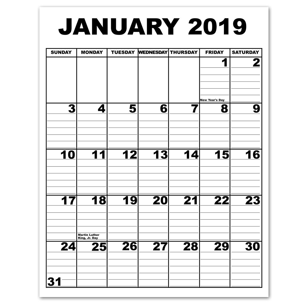 Giant Appointment Calendar 2019