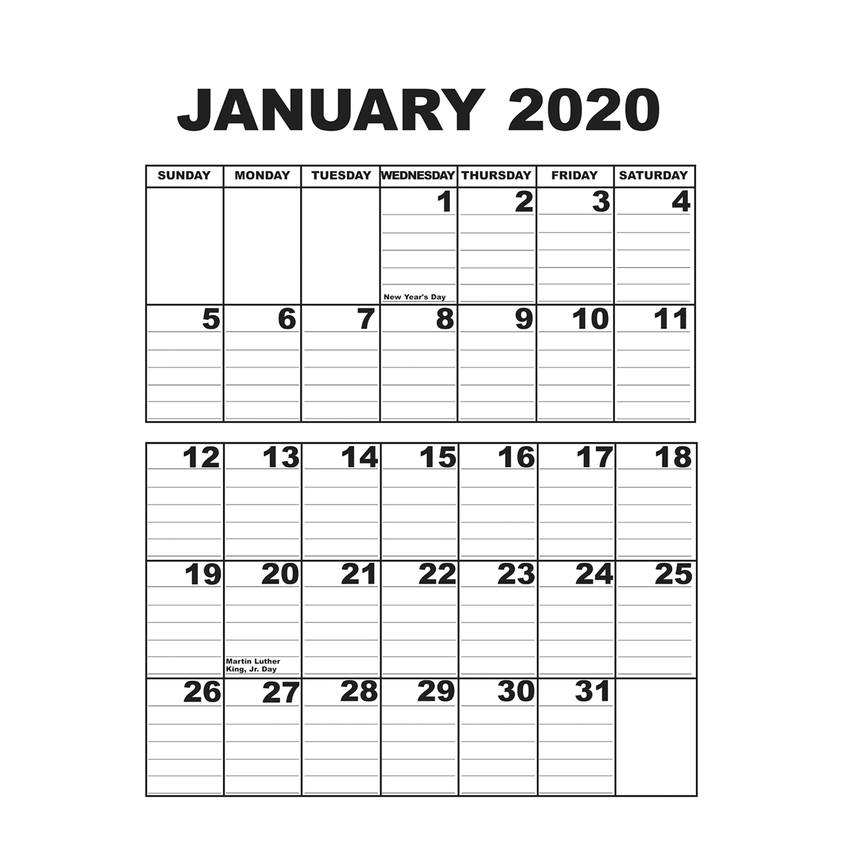 Giant Appointment Calendar 2020