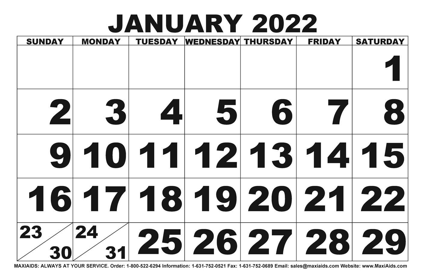 Low Vision Print Calendar- 2022