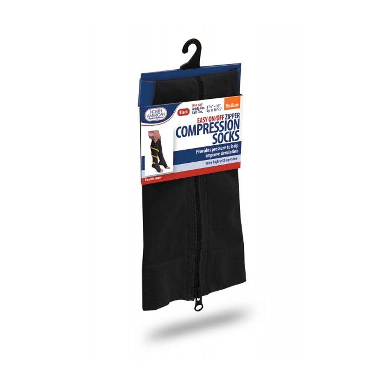 Zipper Compression Socks - Medium - Black
