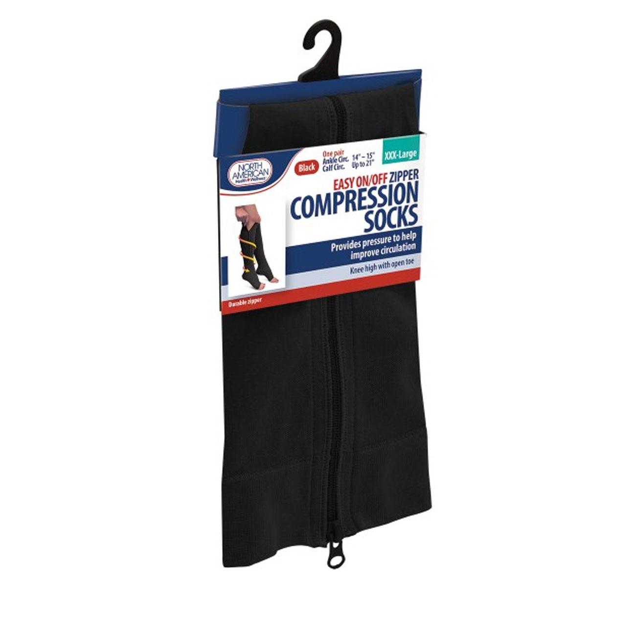 Zipper Compression Socks - XXX-Large - Black