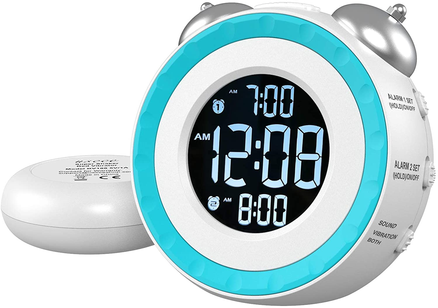 Loud Alarm White Clock with Shaker for the Deaf
