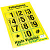 Telephone Stickers - Black on Yellow - Alphanumeric
