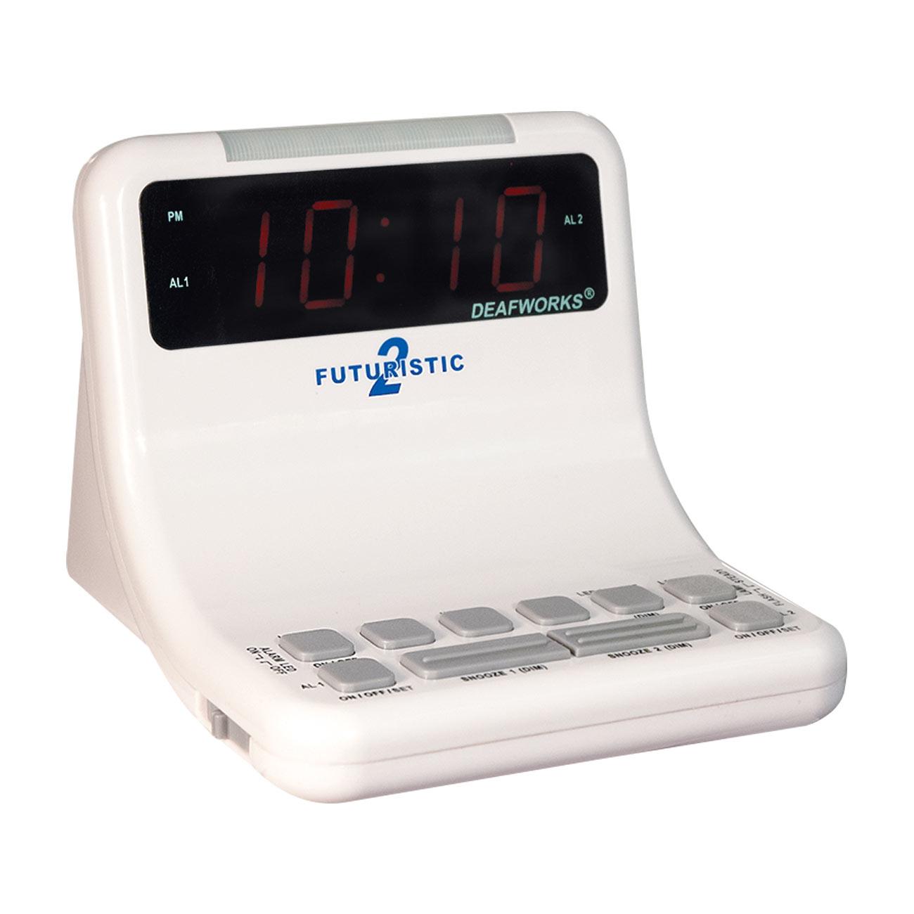 Futuristic 2 Alarm Clock - White