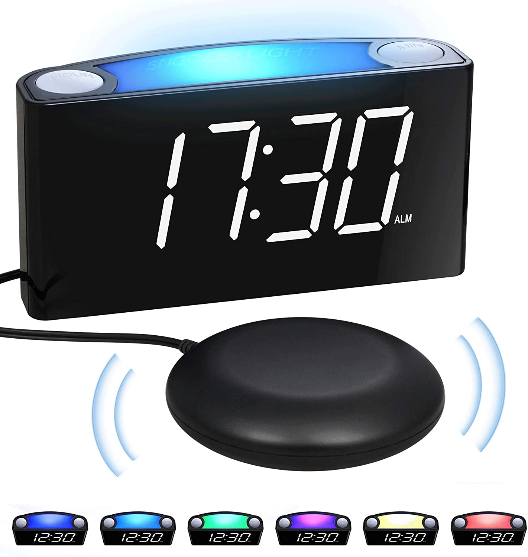 LED Blue Digital Alarm Clock w Bed Shaker w 7 Colored Night Light