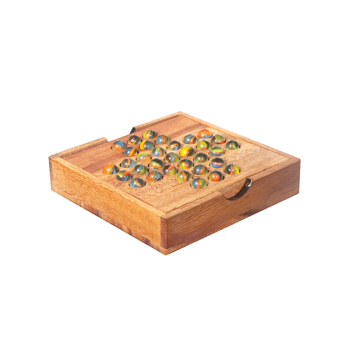 Peg Solitaire Game with Wooden Marbles