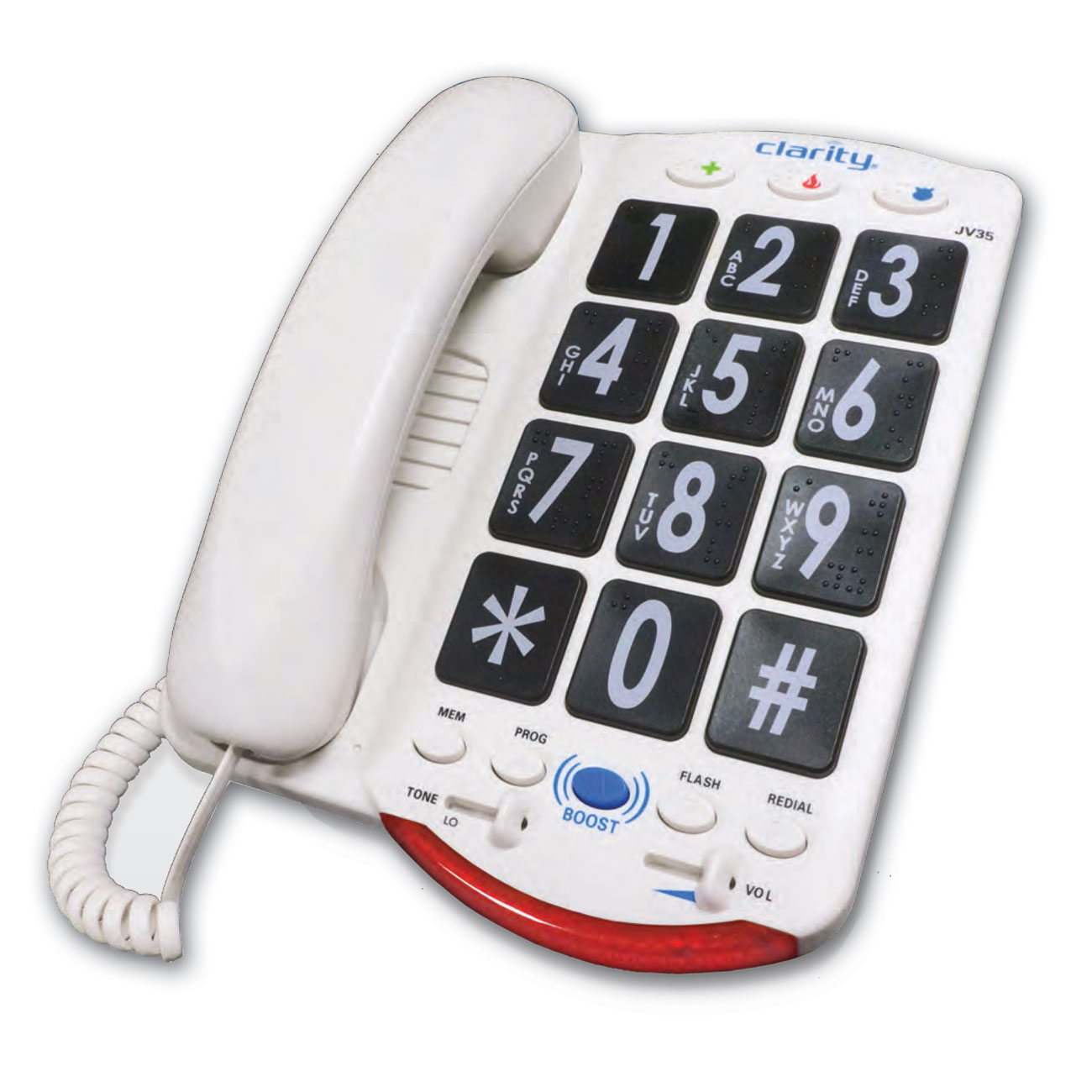 Clarity JV35 50dB Amplified Telephone with Talk Back- Black Buttons
