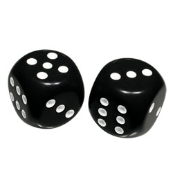Low Vision Large Dice - Black with white dots
