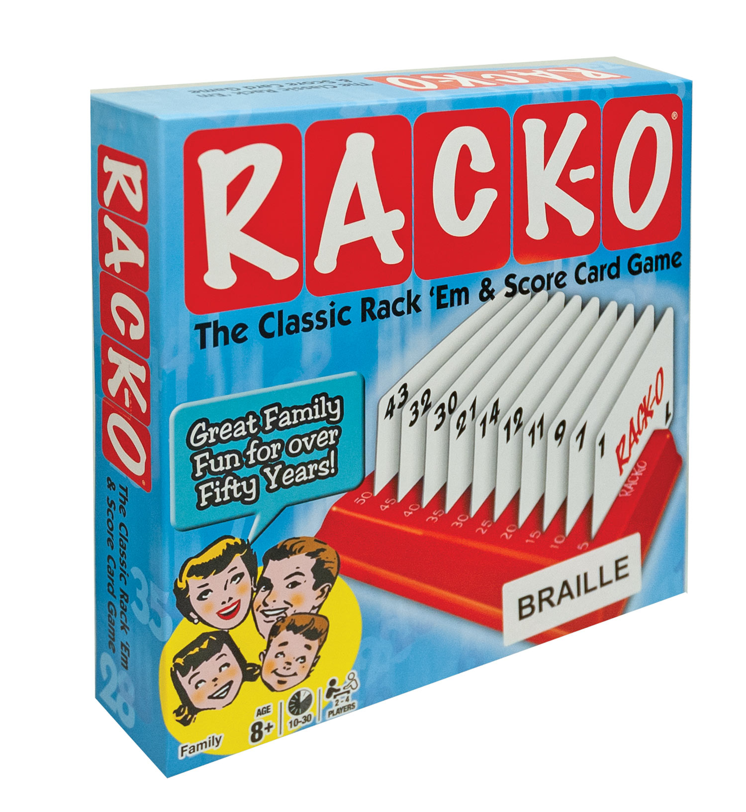 RACKO Card Game - Modified with Brailled Cards