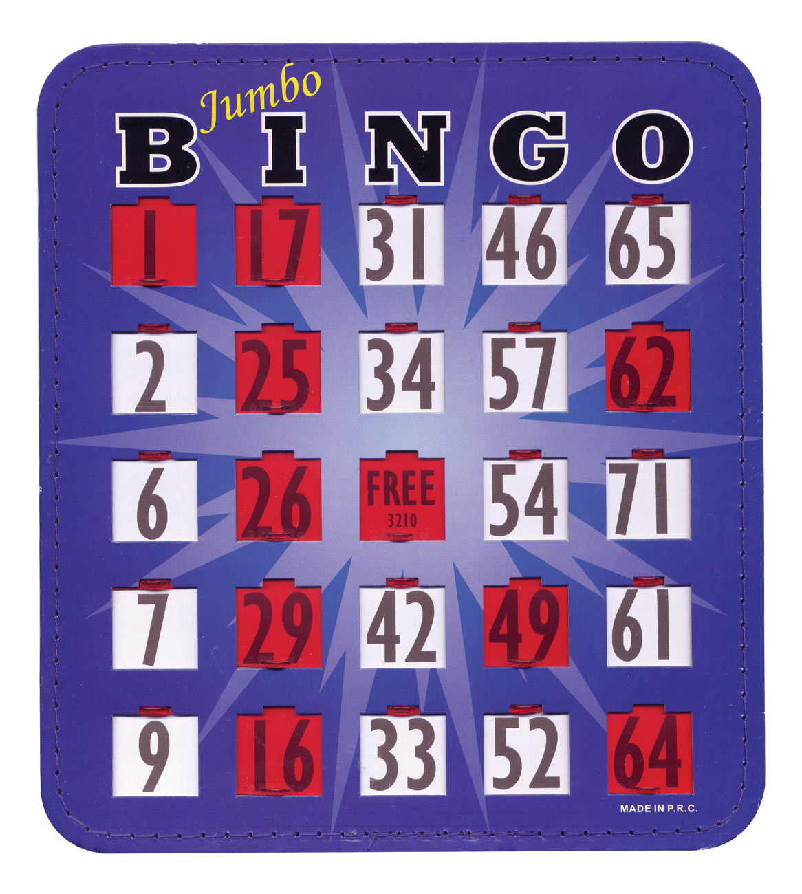 Jumbo Blue Bingo Card with Fingertip Shutter Slide - 20-pack