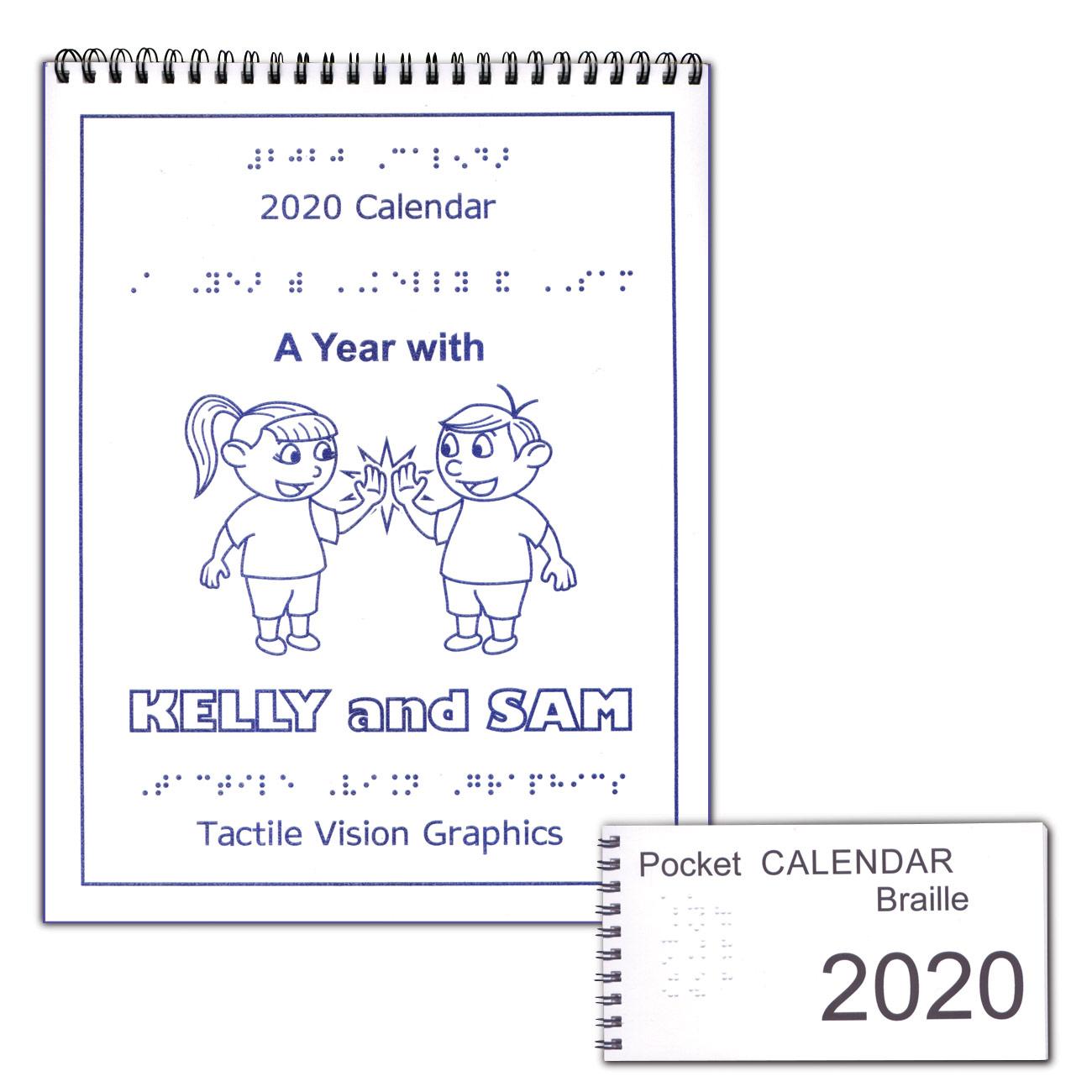 Braille 2020 Calendar with 2020 Pocket Calendar