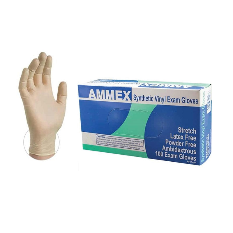 Stretch Synthetic Vinyl Exam Gloves - XL- 100 Gloves