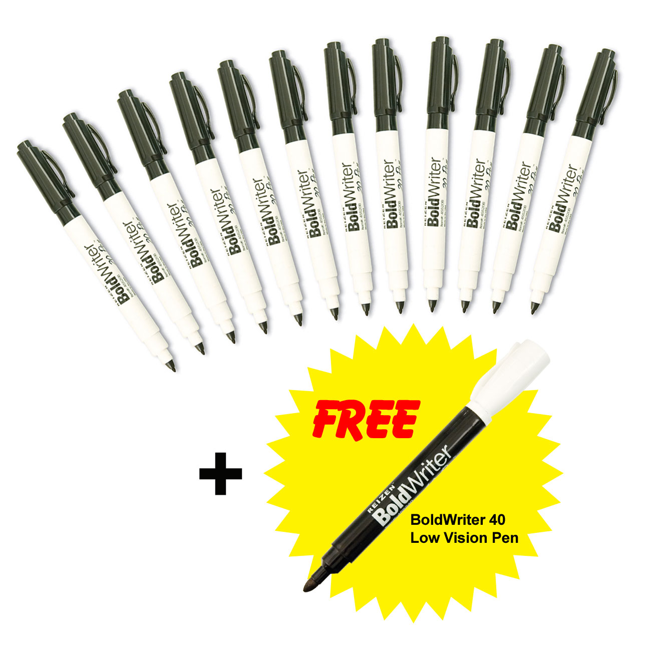 BoldWriter 20 Pen 12-Pack + FREE BoldWriter 40 Pen - Bonus Bundle