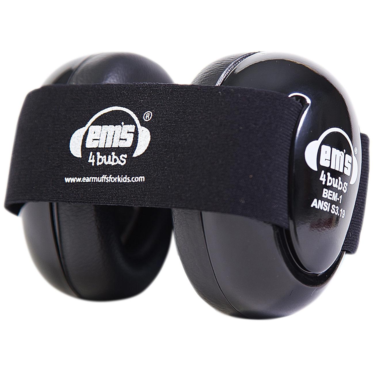 Ems 4 Bubs Baby Hearing Protection Black Earmuffs- Black