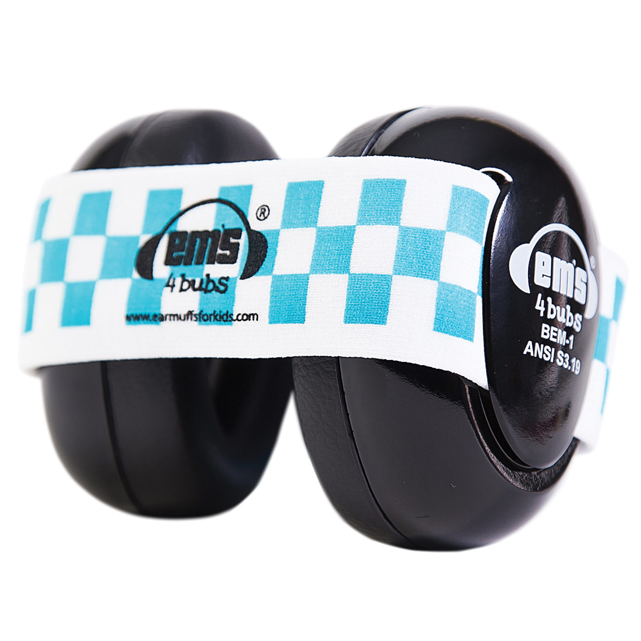 Ems 4 Bubs Baby Hearing Protection Black Earmuffs- Blue-White