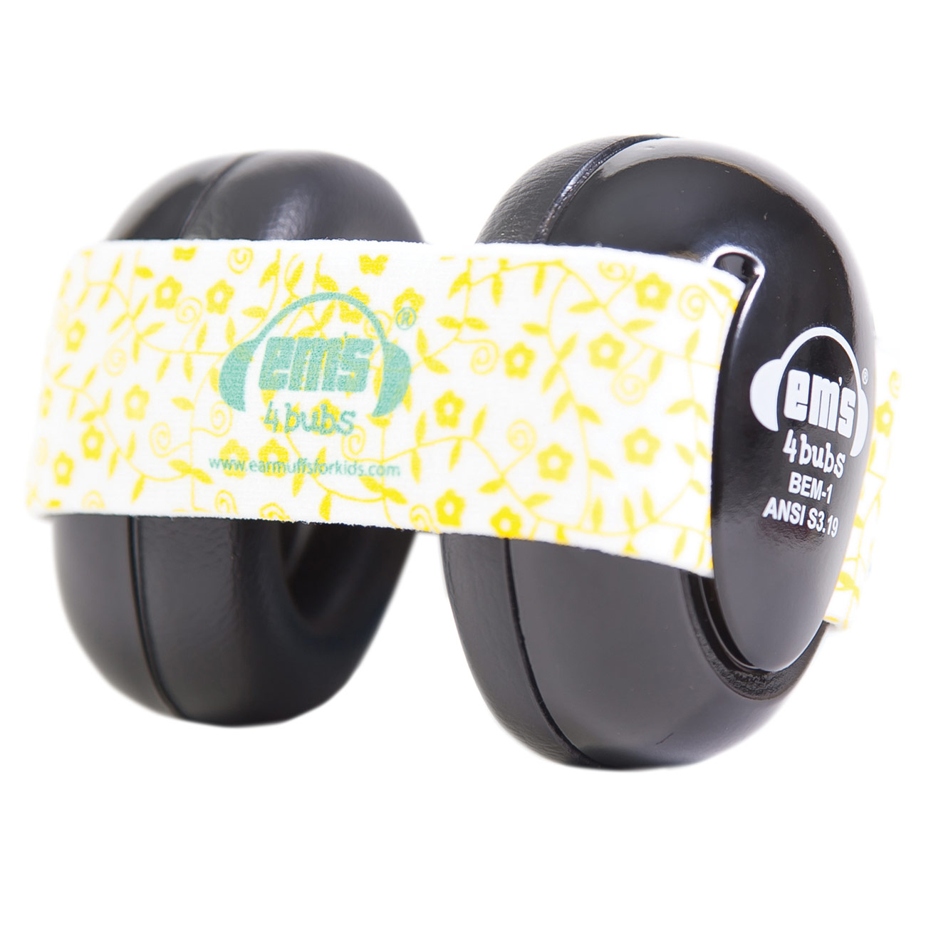 Ems 4 Bubs Baby Hearing Protection Black Earmuffs - Lemon Floral