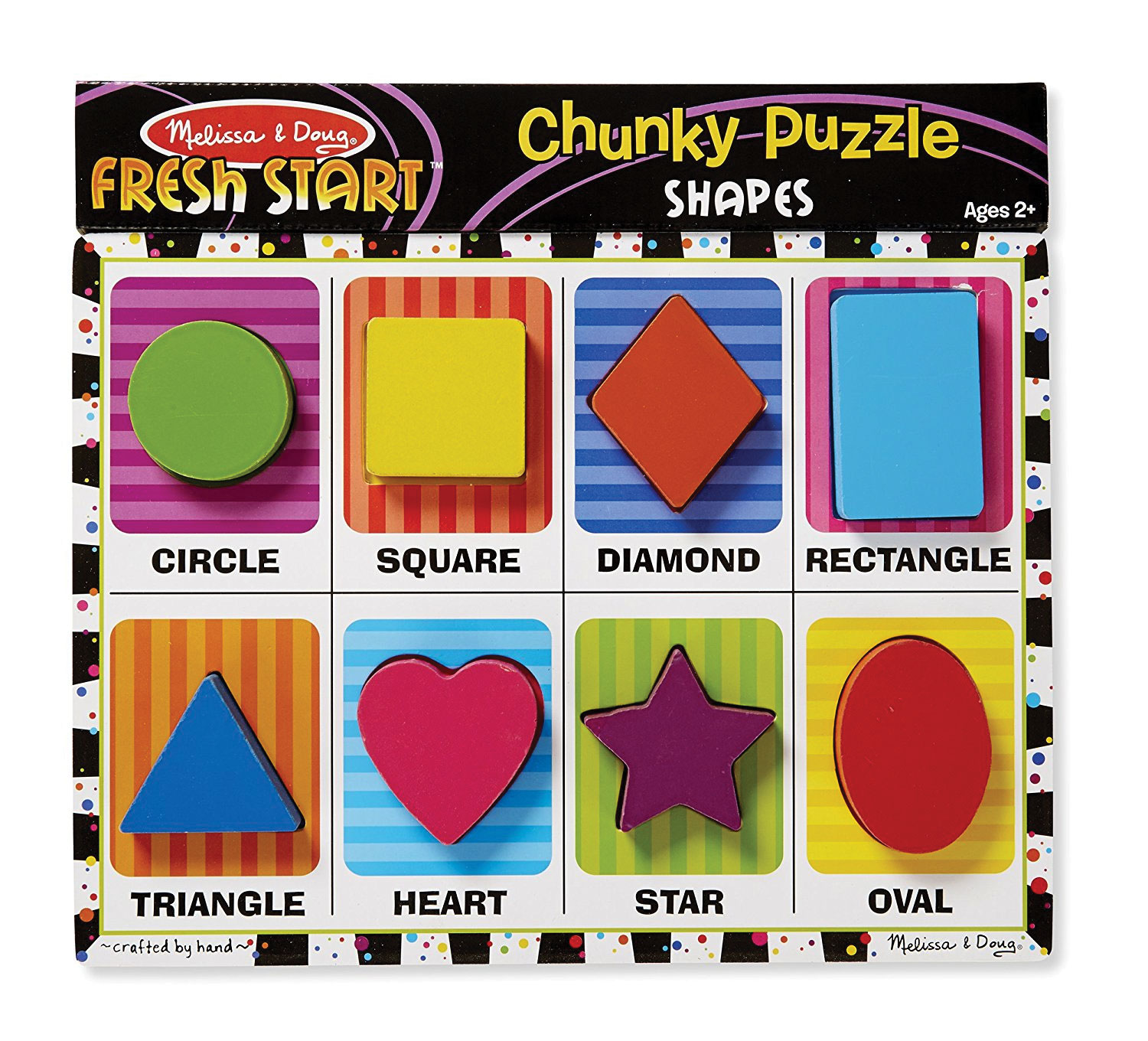 Melissa & Doug Chunky Wooden Puzzle Shapes - 8 Pieces - Ages 2+