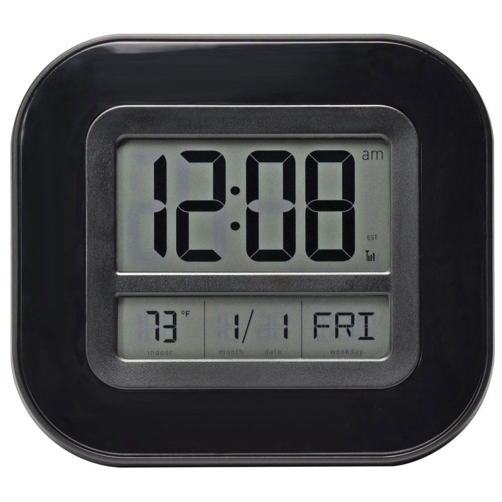 Atomic 9-inch Digital Wall Clock with Date, Day and Indoor Temperature