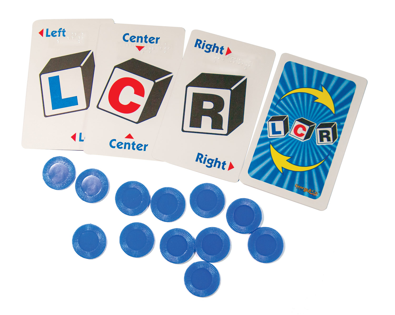 LCR -Left Center Right  Braille Card Game