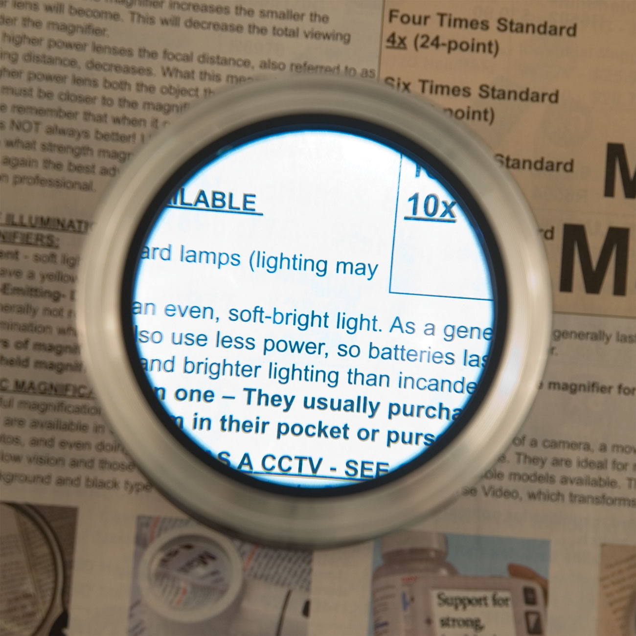 One-Touch LED 3x Zoom Magnifier - Grey