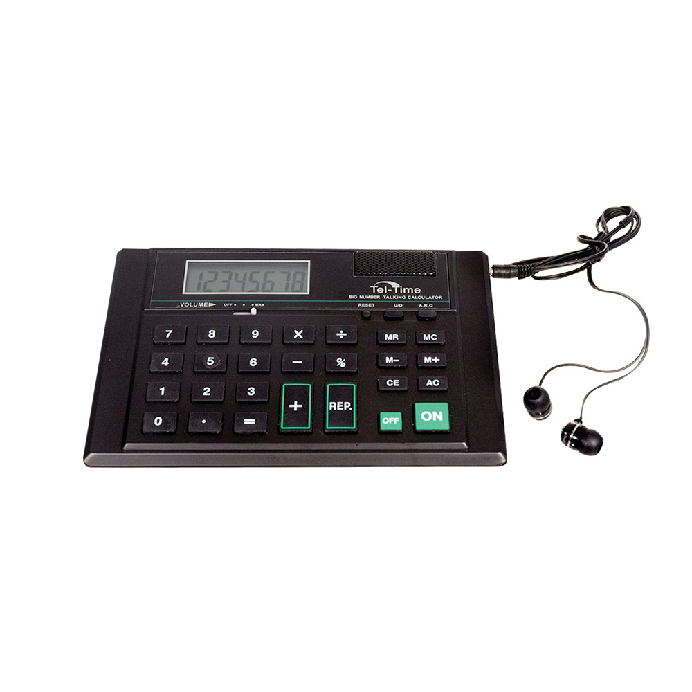 Desk-Top Talking Calculator with Single Earbud