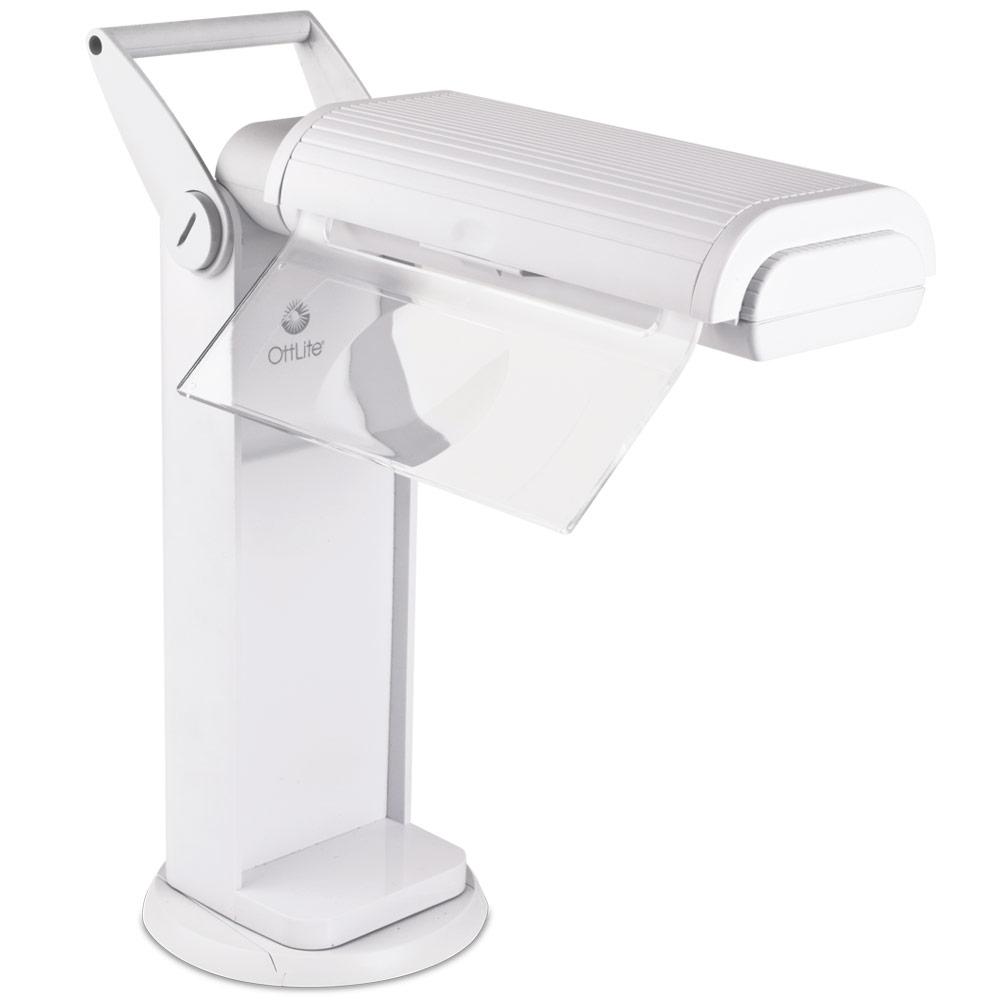 OttLite Classic 2x Magnifier Task Lamp with Swivel Base - White